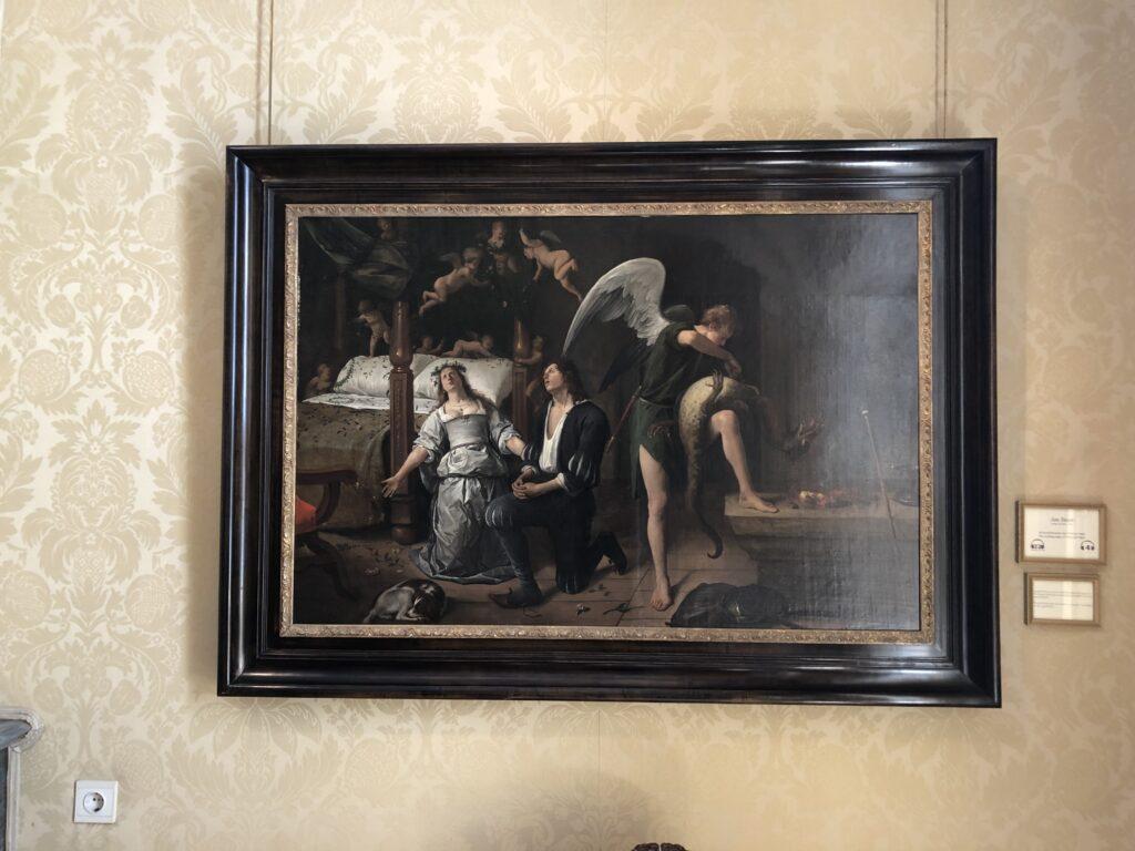 Het schilderij van de huwelijksnacht van Tobias en Sarah